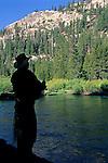 Fishing in Middle Fork San Joaquin River Devils Postpile National Monument Eastern Sierra, CALIFORNIA