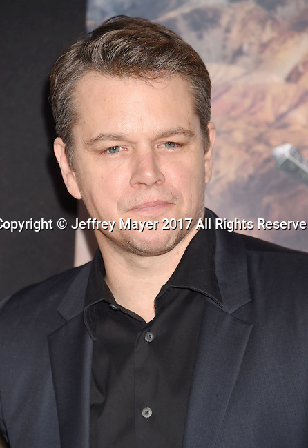 HOLLYWOOD, CA - FEBRUARY 15: Actor Matt Damon arrives at the premiere of Universal Pictures' 'The Great Wall' at TCL Chinese Theatre IMAX on February 15, 2017 in Hollywood, California.