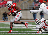 Ohio State Buckeyes wide receiver Michael Thomas (3) fumbles the ball in the second quarter of their game at Ohio Stadium in Columbus, Ohio on November 22, 2014. (Columbus Dispatch photo by Brooke LaValley)