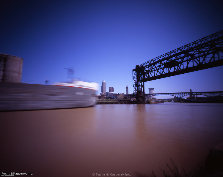 The Robert S. Pierson, a Lake Erie freighter, heads up the Cuyahoga River in Cleveland, OH.