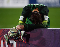 Brazil keeper Jean reflects on the loss after the FIFA Under-20 Football World Cup Final between Brazil (gold) and Serbia at North Harbour Stadium, Albany, New Zealand on Saturday, 20 June 2015. Photo: Dave Lintott / lintottphoto.co.nz