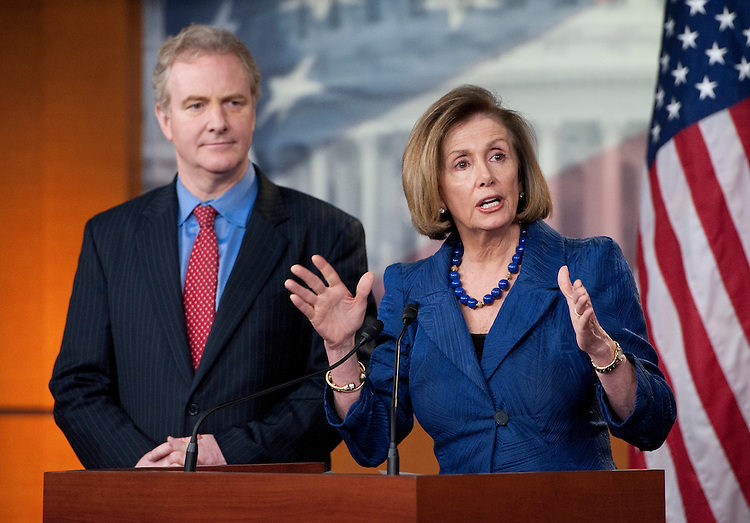 UNITED STATES - APRIL 7: House Minority Leader Nancy Pelosi, D-Calif., and Rep. Chris Van Hollen, D-Md., hold a news conference to discuss the budget and the looming government shutdown in the Capitol on Thursday, April 7 , 2011. (Photo By Bill Clark/Roll Call)