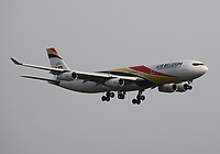 An Air Belgium Airbus A340-313 Registration OO-ABB landing on runway 09L at London Heathrow Airport on 3.8.19 arriving from Toronto Pearson International Airport, Canada.