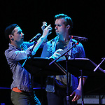 """Chris Dwan and Zach Adkins during the New York Musical Festival production of  """"Alive! The Zombie Musical"""" at the Alice Griffin Jewel Box Theatre on July 29, 2019 in New York City."""