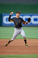Bradenton Marauders third baseman Hunter Owen (13) throws to first base during the second game of a doubleheader against the Lakeland Flying Tigers on April 11, 2018 at Publix Field at Joker Marchant Stadium in Lakeland, Florida.  Bradenton defeated Lakeland 1-0.  (Mike Janes/Four Seam Images)