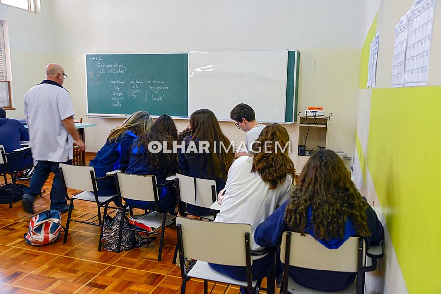 Crianças em sala de aula. Colegio Notre Dame, Sao Paulo. 2018. © Juca Martins.