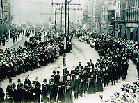 Terence McSwiney, Sinn Féin Lord Mayor of Cork's fineral along the Grand parade in 1920. During the Irish War of Independence in 1920 He was arrested by the British on charges of sedition and imprisoned in Brixton prison in England until his death in October 1920 after 74 days on hunger strike brought him and the Irish struggle to international attention.. Photo: Daniel macMonagle -macmonagle.com archive