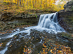 McCormick's Creek State Park, Indiana: McCormick's Creek Falls in autumn. This state park is the oldest in Indiana; established in 1916.