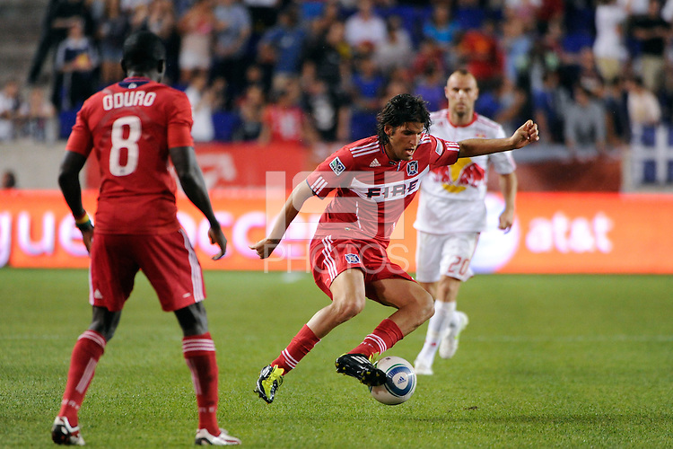 Sebastian Grazzini (10) of the Chicago Fire. The New York Red Bulls and the Chicago Fire played to a 2-2 tie during a Major League Soccer (MLS) match at Red Bull Arena in Harrison, NJ, on August 13, 2011.