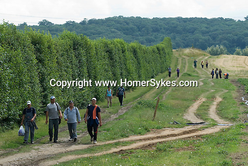 Eastern European farm workers coming off a shift end of a days work. Kent. UK. These people were from Romania.
