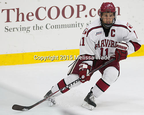 Kyle Criscuolo (Harvard - 11) - The Harvard University Crimson defeated the Dartmouth College Big Green 5-2 to sweep their weekend series on Sunday, November 1, 2015, at Bright-Landry Hockey Center in Boston, Massachusetts. -