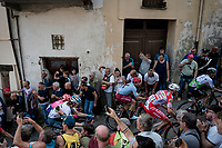 breakaway group up the steep, cobbled & crowded climb in Pinerolo for the 1st passage<br /> <br /> Stage 12: Cuneo to Pinerolo (158km)<br /> 102nd Giro d'Italia 2019<br /> <br /> ©kramon