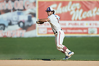High Point-Thomasville HiToms shortstop Ethan Murray (2) (Duke) makes a throw to first base against the Martinsville Mustangs at Finch Field on July 26, 2020 in Thomasville, NC.  The HiToms defeated the Mustangs 8-5. (Brian Westerholt/Four Seam Images)