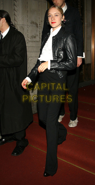 "CHLOE SEVIGNY.The afterparty for NY premiere of ""Walk the Line"" at Gotham, New York, NY.  .November 13th, 2005.Photo: Jackson Lee/Admedia/Capital Pictures.Ref: JL/ADM.full length black trousers leather jacket.www.capitalpictures.com.sales@capitalpictures.com.© Capital Pictures."