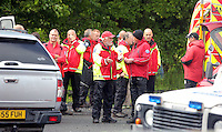 Pictured: Mountain Rescue staff at Tafarn Y Garreg, Powys, Wales UK. Wednesday 29 June 2016<br />