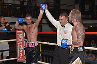 Alfie Price (pink waistband) defeats Fonz Alexander during a Boxing Show at York Hall on 30th June 2018