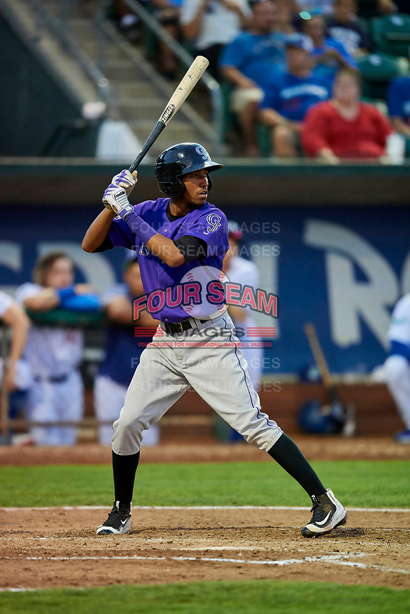 Cristopher Navarro (7) of the Grand Junction Rockies bats during a game against the Ogden Raptors at Lindquist Field on September 7, 2018 in Ogden, Utah. The Rockies defeated the Raptors 8-5. (Stephen Smith/Four Seam Images)