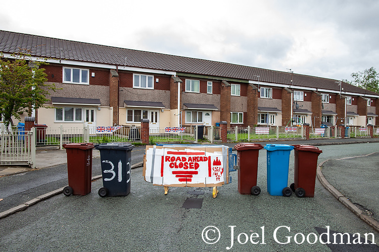 © Joel Goodman - 07973 332324 . 03/06/2012 . Manchester , UK . Makeshift road closed sign at Farnborough Road, Miles Platting as streets are closed for street parties for the Queen's Diamond Jubilee celebrations . Photo credit : Joel Goodman