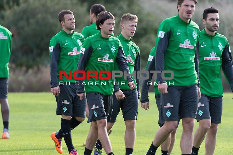 Trainingsgel&auml;nde, Jerez, ESP, 1.FBL, Trainingslager Werder Bremen 2014,  13.01.2014, <br /> <br /> Julian von Haacke (Bremen #38)<br /> Martin Kobylanski (Bremen #33)<br /> Lukas Schmitz (Bremen #13)<br /> Sebastian Pr&ouml;dl / Proedl (Bremen #15)<br /> Mehmet Ekici (Bremen #10)<br /> <br /> Foto &copy; nordphoto/ Kokenge
