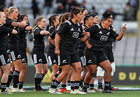 The Black Ferns perform the haka before before the Laurie O'Reilly Memorial Trophy international women's rugby match between the New Zealand Black Ferns and Australia Wallaroos at Eden Park in Auckland, New Zealand on Saturday 25 August 2018. Photo: Simon Watts / lintottphoto.co.nz