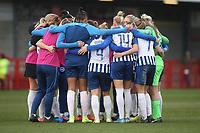 Brighton players huddle during Brighton & Hove Albion Women vs Arsenal Women, Barclays FA Women's Super League Football at Broadfield Stadium on 12th January 2020