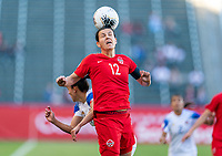 CARSON, CA - FEBRUARY 07: Christine Sinclair #12 of Canada heads the ball during a game between Canada and Costa Rica at Dignity Health Sports Park on February 07, 2020 in Carson, California.