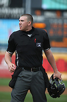 Home Plate Umpire Jacob Metz during a game between the Lake Elsinore Storm and the Rancho Cucamonga Quakes at LoanMart Field on April 10, 2016 in Rancho Cucamonga, California. Lake Elsinore defeated Rancho Cucamonga, 7-6. (Larry Goren/Four Seam Images)