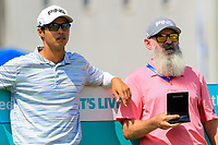 Johannes Veerman (USA) and caddy Nick Pugh on the 1st tee during the Preview of the Australian PGA Championship at  RACV Royal Pines Resort, Gold Coast, Queensland, Australia. 18/12/2019.<br /> Picture Thos Caffrey / Golffile.ie<br /> <br /> All photo usage must carry mandatory copyright credit (© Golffile | Thos Caffrey)