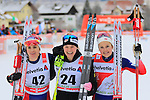 From left Heidi Weng, Jessica Diggins and Ingvild Flugstad Oestberg during the 5 Km Individual Free race of Tour de ski as part of the FIS Cross Country Ski World Cup  in Dobbiaco, Toblach, on January 8, 2016. American Jessica Diggins wins the race, ahead of Norway's Heidi Weng and third place for actual leader Ingvild Flugstad Oestberg from Norway. Credit: Pierre Teyssot