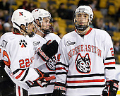 Greg Costa (NU - 22), Mike Hewkin (NU - 28), Drew Daniels (NU - 24) - The Northeastern University Huskies defeated the Harvard University Crimson 4-1 (EN) on Monday, February 8, 2010, at the TD Garden in Boston, Massachusetts, in the 2010 Beanpot consolation game.