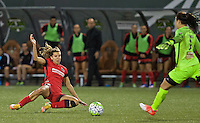 Portland, OR - Sunday Sept. 11, 2016: Tobin Heath, Sabrina D'Angelo during a regular season National Women's Soccer League (NWSL) match between the Portland Thorns FC and the Western New York Flash at Providence Park.