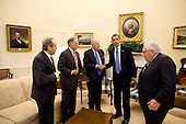Washington, DC - May 19, 2009 -- United States President Barack Obama meets with former Defense Secretary William Perry; former Georgia Sen. Sam Nunn; former Secretary of State George P. Shultz; and former Secretary of State Henry Kissinger in the Oval Office, to discuss the U.S. non-proliferation policy, May 19, 2009. .Mandatory Credit: Pete Souza - White House via CNP