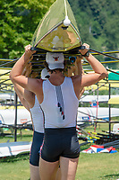 """Lucerne, SWITZERLAND, 12th July 2018, Friday  FISA World Cup series, No.3, Lake Rotsee, Lucerne,  Back Print, Uni Suit, """"All in One"""",  rowing Kit, USA crew"""