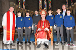 Scoil Iognaid Rís pupils Luke O'Connor, Robbie Sheehy, Sam Malley, Aoivoars Uosis, Fergal Smyth and Jack Curran on the day of their Confirmation, pictured with their teacher Micheal Ó Conchúir, fr. Joe Begley and Msgr. Raymond Browne at St. Mary's Church, Dingle, on Thursday afternoon.