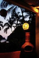 Playa la Rosa at night seen from its restaurant.