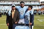 CHAPEL HILL, NC - NOVEMBER 18: UNC's M.J. Stewart, Jr. was honored as part of Senior Day pregame activities. The University of North Carolina Tar Heels hosted the Western Carolina University Catamounts on November 18, 2017 at Kenan Memorial Stadium in Chapel Hill, NC in a Division I College Football game. UNC won the game 65-10.