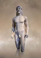 Marble Anxcient Greek Archaic meble statue of a kouros, circa 500 BC, Athens National Archaeological Museum.