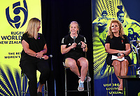 4th February 2020, Eden Park, Auckland, New Zealand;  L-R: Cate Sexton (Head of Women's Rugby NZ), Kendra Cocksedge (Black Fern) and Dame Julie Christie (RWC2021 Organising Committee Chair).<br /> RWC 2021 New Zealand Kick-Off event at Eden Park, Auckland, New Zealand on Tuesday 4th February 2020.