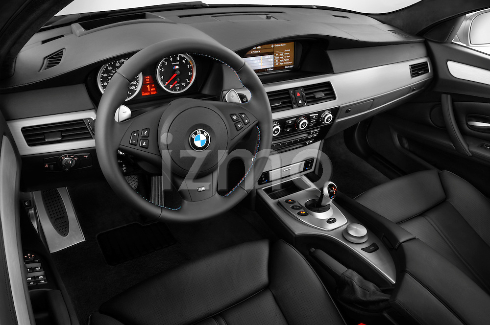 High angle dashboard view of a  2008 BMW M5 Sedan
