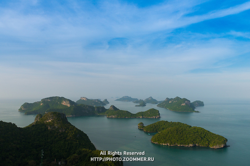 Panoramic view of Ang Thong marine park numerous small islands, Thailand