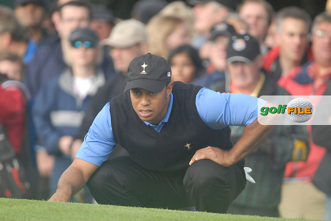 23rd September, 2006. American Ryder Cup Team player Tiger Woods on the 9th green during the afternoon foursomes session of the second day of the 2006 Ryder Cup at the K Club in Straffan, County Kildare in the Republic of Ireland..Photo: Eoin Clarke/ Newsfile.