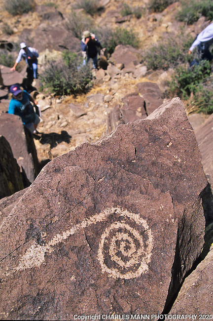 Particpants of a Museum of New Mexico field trip search for petroglyphs in the rocky outcroppings of a ridge in the Galesteo River Basin near the village of Galesteo, New Mexico