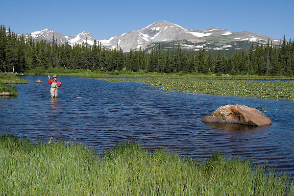 "Angler fly fishing at Brainard Lake, Boulder, Colorado. From: ""Boulder, Colorado: A Photographic Portrait."" Private photo tours to Indian Peaks. .  John leads private photo tours in Boulder and throughout Colorado. Year-round."