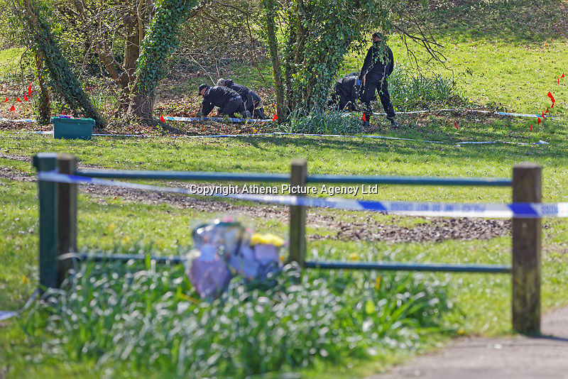 Pictured: Police at Ystrad Mynach Park in south Wales, UK. Saturday 13 April 2019<br /> Re: A 13-year-old boy, named lofcally as Carson Price, has died after being found unconscious in Ystrad Mynach Park, Caerphilly County, at about 7.20pm on Friday 12 April.<br /> The teen was taken to University Hospital of Wales in Cardiff where he was pronounced dead.