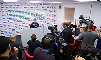 Lincoln City manager Danny Cowley speaks to the media following the game<br /> <br /> Photographer Chris Vaughan/CameraSport<br /> <br /> The Carabao Cup Second Round - Lincoln City v Everton - Wednesday 28th August 2019 - Sincil Bank - Lincoln<br />  <br /> World Copyright © 2019 CameraSport. All rights reserved. 43 Linden Ave. Countesthorpe. Leicester. England. LE8 5PG - Tel: +44 (0) 116 277 4147 - admin@camerasport.com - www.camerasport.com