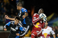 Bouna Coundoul saves the ball in a crowd. The New York Red Bulls defeated the San Jose Earthquakes 1-0 at Buck Shaw Stadium in Santa Clara, California on October 30th, 2010.