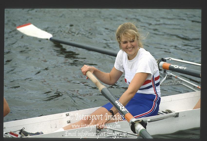 Henley, England,  GBR Joanna TOCH. 1990 Women's Henley Regatta, Henley Reach, River Thames Oxfordshire <br /> <br /> <br /> [Mandatory Credit; Peter Spurrier/Intersport-images] 1990 Henley Women's Regatta, Henley,