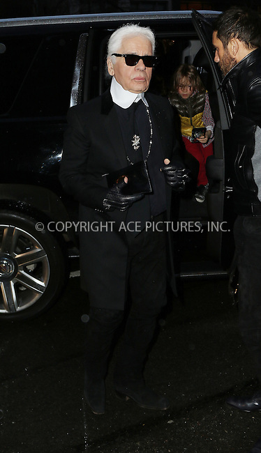 WWW.ACEPIXS.COM<br /> <br /> March 31 2015, New York City<br /> <br /> Karl Lagerfeld arriving at the Chanel Paris-Salzburg 2014/15 Metiers d'Art Collection at the Park Avenue Armory on March 31, 2015 in New York City. <br /> <br /> By Line: Zelig Shaul/ACE Pictures<br /> <br /> ACE Pictures, Inc.<br /> tel: 646 769 0430<br /> Email: info@acepixs.com<br /> www.acepixs.com