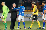 St Johnstone v Dundee United...11.02.12.. SPL.Peter Houston shakes hands with Fran Sandaza at full time.Picture by Graeme Hart..Copyright Perthshire Picture Agency.Tel: 01738 623350  Mobile: 07990 594431