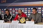 03.12.2014, Acara Hotel, Oldenburg, WBA-Weltmeisterschaft im Halbschwergewicht  Pawel Glazewski (PL) vs Juergen Braehmer /GER) -  Pressekonferenz, im Bild<br /> Trainer Karsten R&ouml;wer ( Juergen Braehmer)<br /> Juergen Braehmer (GER)<br /> Kalle Sauerland <br /> <br /> <br /> Foto &copy; nordphoto / Kokenge